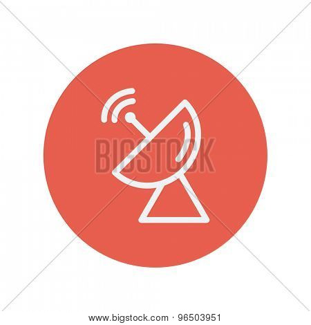 Radar satellite dish thin line icon for web and mobile minimalistic flat design. Vector white icon inside the red circle.