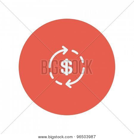 Money dollar symbol with arrow thin line icon for web and mobile minimalistic flat design. Vector white icon inside the red circle.