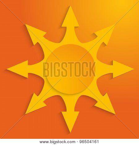 Arrow-sunbeam-effect-cut-paper-hot-yellow-background