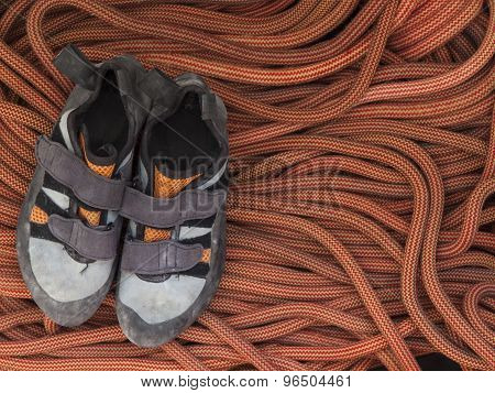 Shoes For Mountaineering And Rock Climbing Is On The Rope.