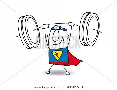 Superhero weight lifter. This superhero is very strong. He is a weight lifter