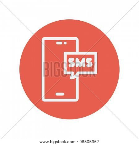 Mobile phone with SMS can receive and send messages thin line icon for web and mobile minimalistic flat design. Vector white icon inside the red circle.