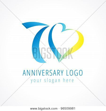 Anniversary 70 years old hearts celebrating vector digit logo. Birthday greetings with framed tape heart shape. Holiday abstract numbers or letter o. Lovely card with celebrating figures 70 th.