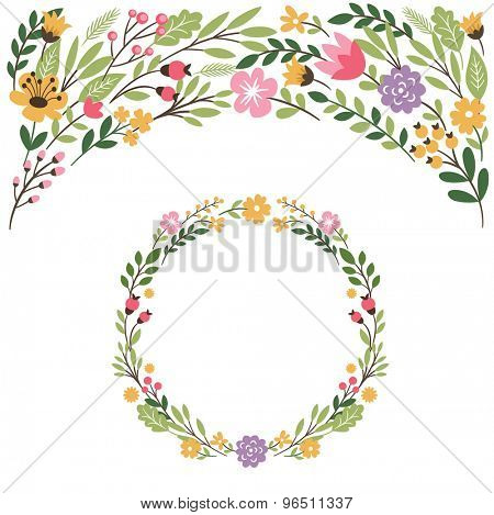 set graphic elements ,floral frame, place for text