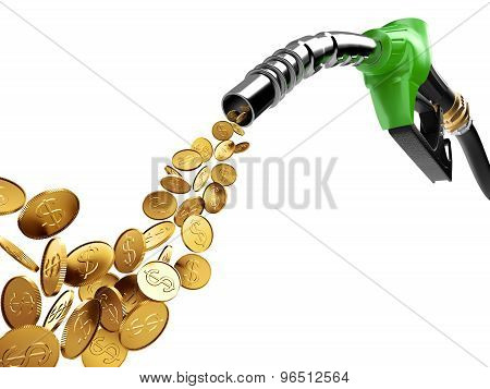 Gasoline Pump And Gold Coin With Dollar Sign