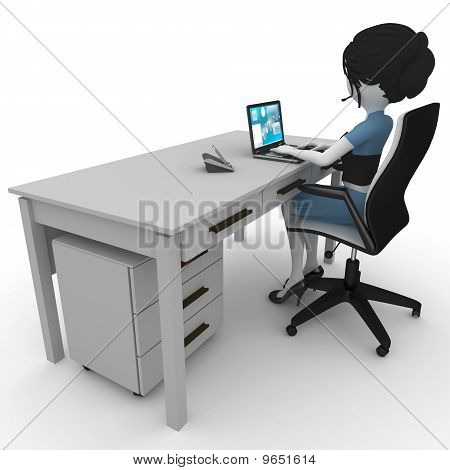 poster of 3d girl working in the office isolated on white