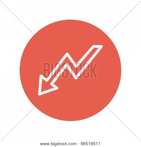 Lightning arrow downward thin line icon for web and mobile minimalistic flat design. Vector white icon inside the red circle.