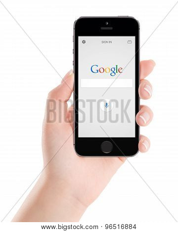 Google Search Application On The Black Apple Iphone 5S Display In Female Hand