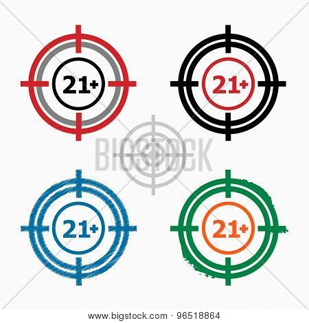 21 plus years old sign. Adults content icon on target icons background. Crosshair icon. Vector illustration. poster