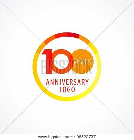 100 years old circle logo. Anniversary year of 100 th vector chart template medal. Birthday greetings circle celebrates. Celebrating numbers. Colorful stamp with diagram. Figures of ages. Letter O.