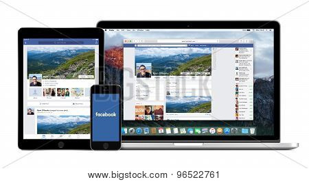 Facebook App On The Apple Iphone Ipad Displays And Desktop Version Of Facebook On The Macbook Pro