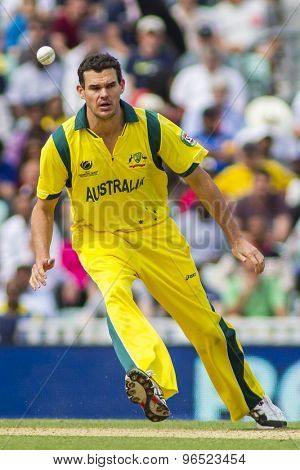 LONDON, ENGLAND - June 17 2013: Australia's Clint McKay during the ICC Champions Trophy international cricket match between Sri Lanka and Australia.