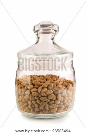 Airtight glass jar with cereal