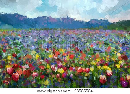 Oil Painting Colorful Spring Summer Rural Landscape