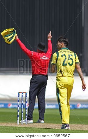 CARDIFF, WALES - June 04 2013: Umpire R Bailey signals six runs off the bowling of Mitchell Johnson during the ICC Champions Trophy warm up match between India and Australia