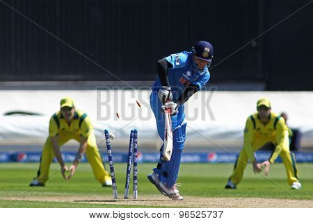 CARDIFF, WALES - June 04 2013: India's Suresh Raina is bowled out by Australia's Clint McKay during the ICC Champions Trophy warm up match between India and Australia