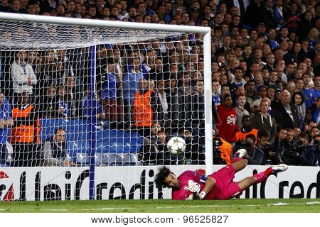 LONDON, ENGLAND. September 19 2012  Juventus's Italian  goalkeeper Gianluigi Buffon makes a save during the UEFA Champions League football match between Chelsea and Juventus played at Stamford Bridge