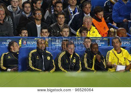 LONDON, ENGLAND. September 19 2012 Chelsea's manager Roberto Di Matteo sitting in the team dugout during the UEFA Champions League football match between Chelsea and Juventus played at Stamford Bridge