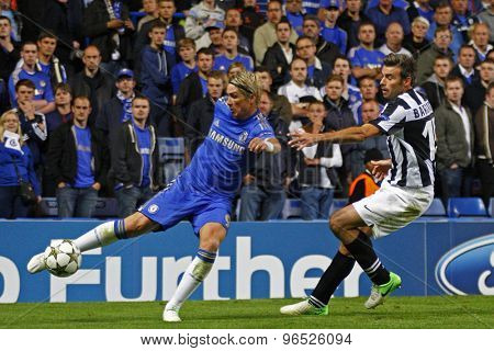 LONDON, ENGLAND. September 19 2012 Chelsea's Spanish forward Fernando Torres and Juventus's defender Andrea Barzagli  during the UEFA Champions League football match between Chelsea and Juventus