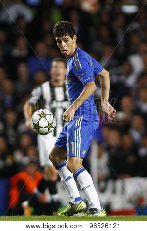 LONDON, ENGLAND. September 19 2012 Chelsea's Brazilian midfielder Oscar controls the ball  during the UEFA Champions League football match between Chelsea and Juventus played at Stamford Bridge