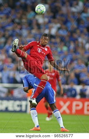 MUNICH, GERMANY May 19 2012. Bayern's German defender J���©r���´me Boateng and Chelsea's Ivory Coast forward Didier Drogba in action during the 2012 UEFA Champions League Final