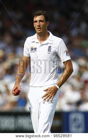 LONDON, ENGLAND. AUGUST 19 2012 England's Steven Finn during the third Investec cricket  test match between England and South Africa, at Lords Cricket Ground