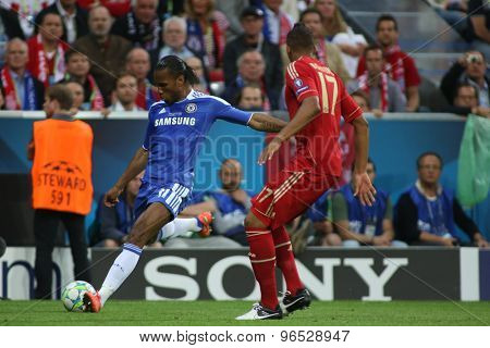 MUNICH, GERMANY May 19 2012. Chelsea's Ivory Coast forward Didier Drogba in action during the 2012 UEFA Champions League Final at the Allianz Arena Munich contested by Chelsea and Bayern Munich