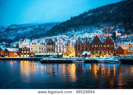 night view on Bruges. Bergen. Norway