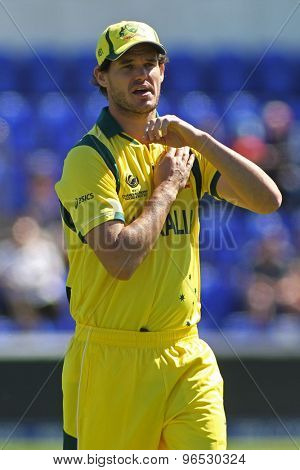 CARDIFF, WALES - June 04 2013: Australia's Clint McKay during the ICC Champions Trophy warm up match between India and Australia at the Cardiff Wales Stadium on June 04, 2013 in Cardiff, Wales