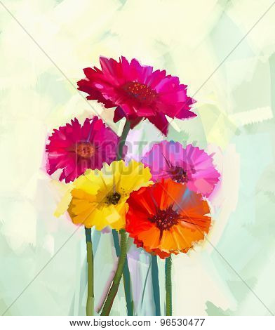 Oil Painting  Still Life Of Yellow And Red Gerbera Flower