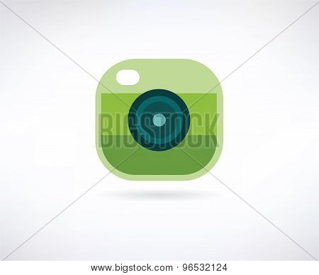 Photo app vector icon. Similar to instagram. Camera, lense and shot symbol. Stock design element