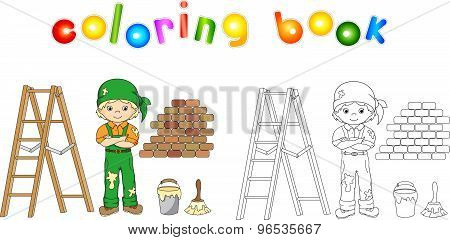 Painter In Overalls And Bandana. Ladder, Paint Brush And Bucket Of Paint. Vector Illustration