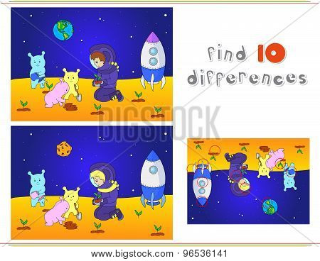 Cute and friendly aliens and astronaut watering the plants on the planet. Rocket is standing on the surface of Mars or moon. Space landscape. Educational game for kids: find ten differences. Vector illustration poster
