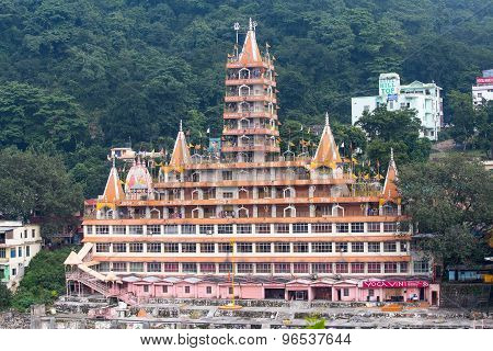 Tera Manzil Temple In Rishikesh Near The River Ganges, India