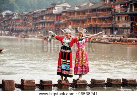 Tourist Happiness In Fenghuang Ancient City.