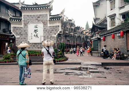 Traveler In Fenghuang Ancient City.