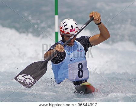 LONDON, ENGLAND - JUNE 06 2014 Ander Elosegi of Spain competes at the ICF Canoe Slalom held at the Lea Valley White Water centre Waltham Abbey.