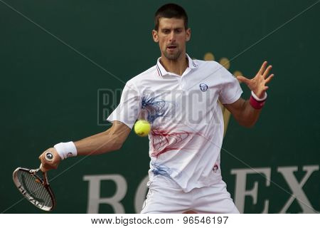 MONTE CARLO, MONACO. APRIL 19 2012 Novak Djokovic (SRB) in action during the 3rd round singles match between Novak Djokovic (SRB) and Alexandr Dolgopolov (UKR) at the ATP Monte Carlo Masters  .
