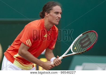 MONTE CARLO, MONACO. APRIL 19 2012 Alexandr Dolgopolov (UKR) in action during the 3rd round singles match between Novak Djokovic (SRB) and Alexandr Dolgopolov (UKR) at the ATP Monte Carlo Masters  .