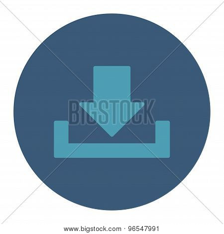 Download icon from Primitive Round Buttons OverColor Set. This round flat button is drawn with cyan and blue colors on a white background. poster