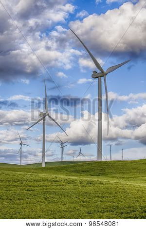 Windmills On Wind Farm