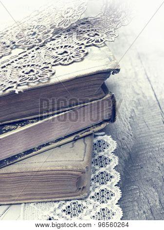 old books in retro style