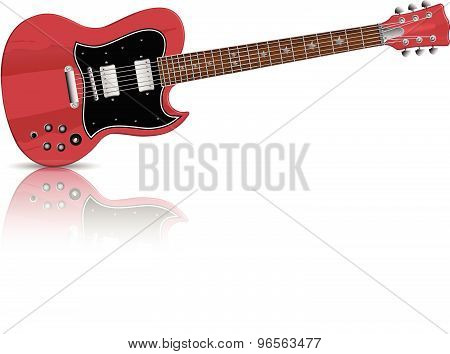 Vector red electric guitar with mirror shadow