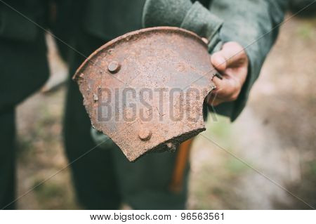Old Rusty Shell Fragment Found In Belarusian Forest On Battlefield Of World War II poster