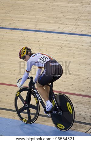 LONDON, ENGLAND. FEBRUARY 18 2012: Miriam Welte (GER) in action during the womens sprint at the UCI Track Cycling World Cup at the London Velodrome, Queen Elizabeth 2nd Park
