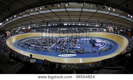 LONDON, ENGLAND. FEBRUARY 19 2012: A general view of the Veledrome at the UCI Track Cycling World Cup at the London Velodrome, Queen Elizabeth 2nd Park