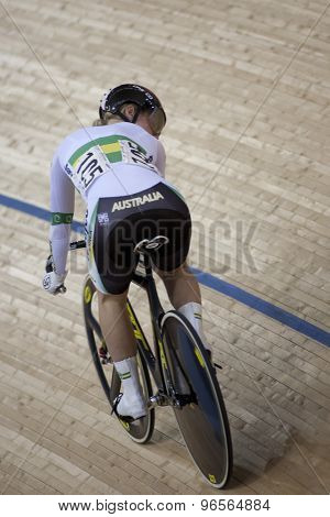 LONDON, ENGLAND. FEBRUARY 18 2012: Kaarle McCulloch (AUS) in action during the womens sprint at the UCI Track Cycling World Cup at the London Velodrome, Queen Elizabeth 2nd Park