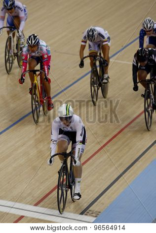 LONDON, ENGLAND. FEBRUARY 19 2012: Anna Mearas (AUS) in action during the womens keirin at the UCI Track Cycling World Cup at the London Velodrome, Queen Elizabeth 2nd Park