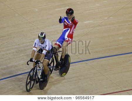 LONDON, ENGLAND. FEBRUARY 19 2012: Maximillian Levy (GER) and Sir Chris Hoy (GBR) during the UCI Track Cycling World Cup at the London Velodrome, Queen Elizabeth 2nd Park
