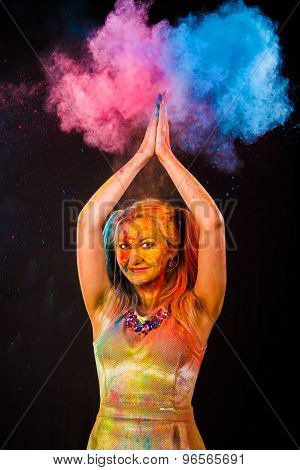 Beautiful Young Woman With Colored Powder
